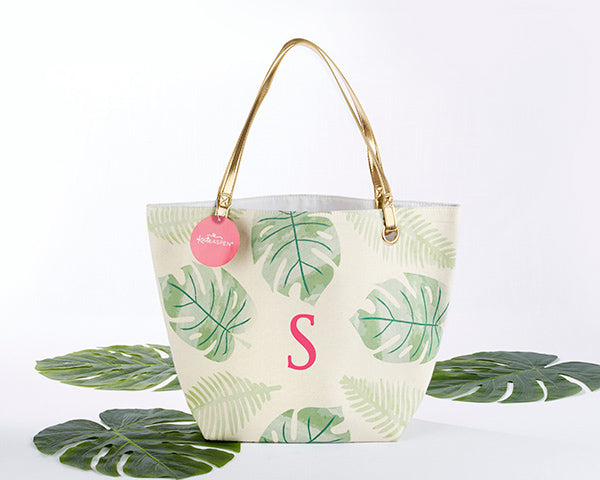 Pretty Palms Canvas Tote Bag with Personalization | Bridesmaid Bag | @myweddingfavors | MyWeddingFavors.com