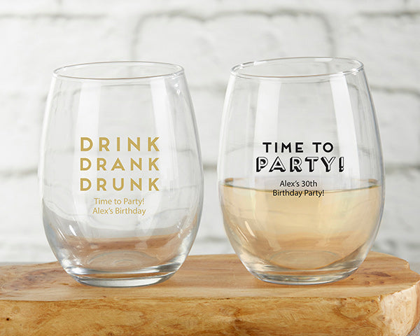 Stemless Wine Glasses | Boozy Birthday Party Favors | My Wedding Favors