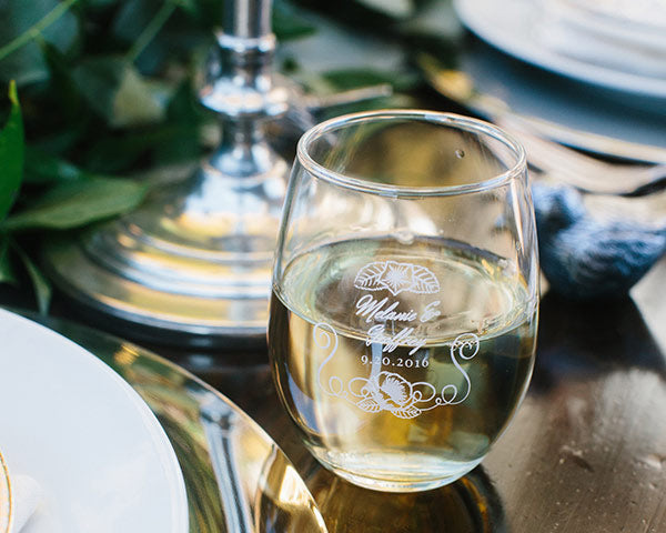 Tea Party Bridal Shower: Stemless Wine Glass