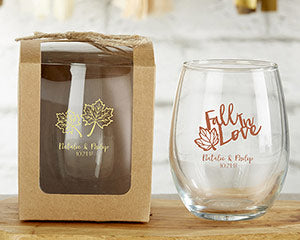 Personalized Fall Stemless Wine Glasses