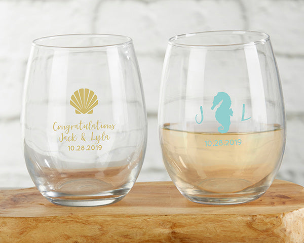 Seaside Stemless Wine Glasses | Favors and Decor for a Nautical Wedding | My Wedding Favors