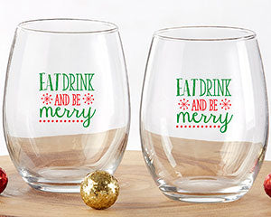 Eat, Drink and Be Merry 9 oz. Stemless Wine Glass Set