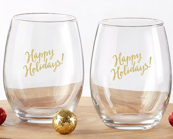 Holiday Stemless Wine Glasses | 7 Bridesmaids Gifts for a Holiday Wedding | My Wedding Favors