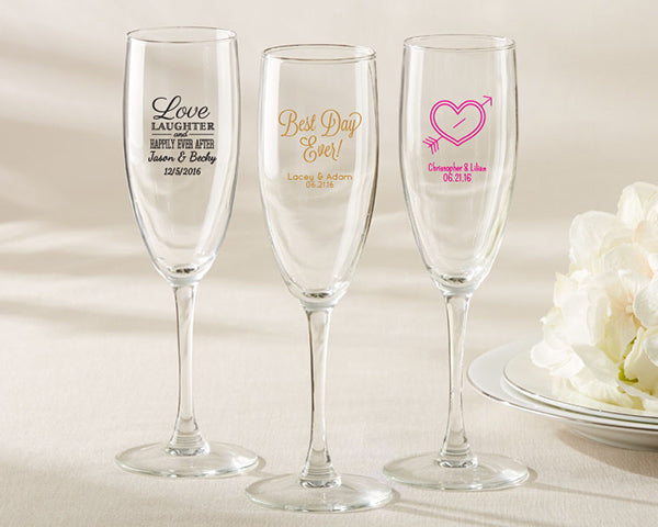 Glassware Wedding Favors: Champagne Flutes