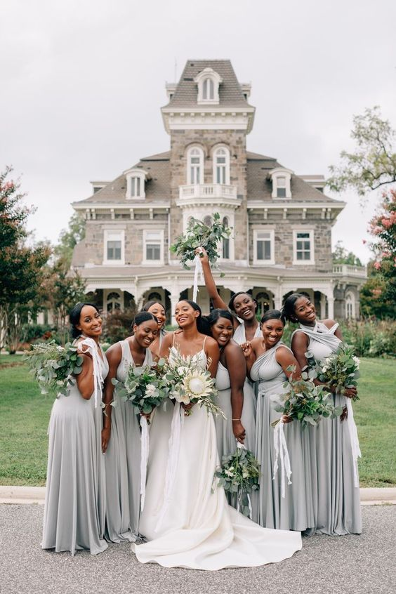 Silver and Sage Bridesmaid Dresses | 6 Stunning Ideas for a Silver & Sage Wedding | My Wedding Favors