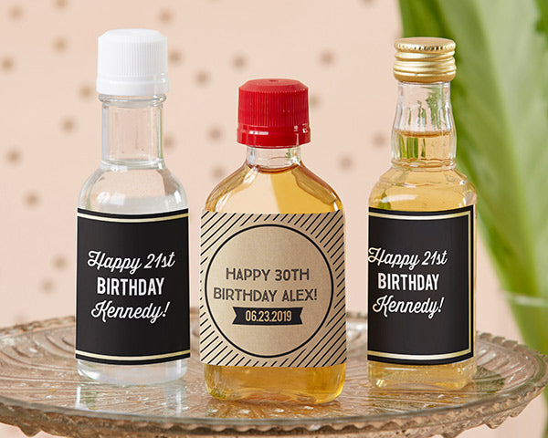 Personalized Mini Bottle Tags | Boozy Birthday Party Favors | My Wedding Favors