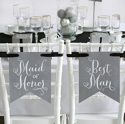 Reception Chair Signs: Bridal Party