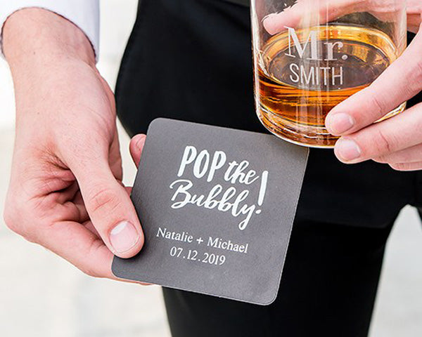 Pop the Bubbly Coasters | 8 Coasters That Will Dress Up Your Wedding Reception Tables | My Wedding Favors
