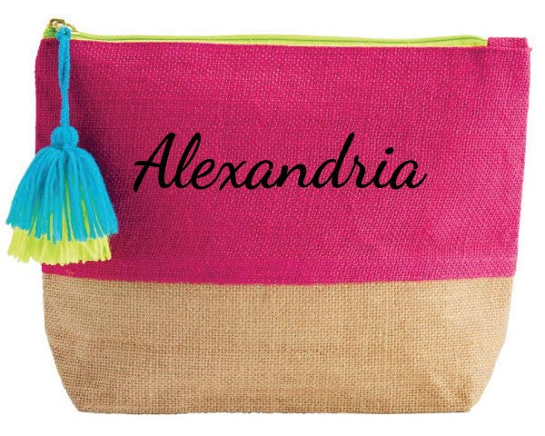 Color Pop Jute Cosmetic Bag