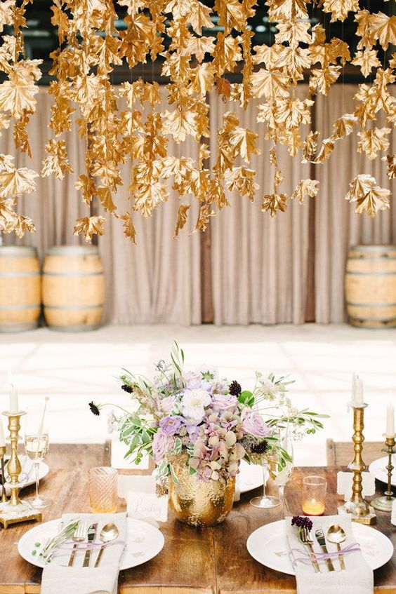 Gold Leaf Decorations | How to Incorporate Fall Leaves Into Your Wedding | My Wedding Favors