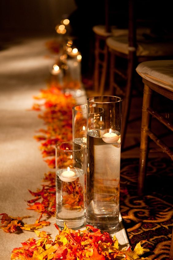 Wedding Aisle With Leaves | Hot Tips for Planning an Autumn Wedding | My Wedding Favors