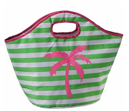 Palm Tree Sripe Insulated Cooler Tote | Bridesmaid Bag | @myweddingfavors | MyWeddingFavors.com