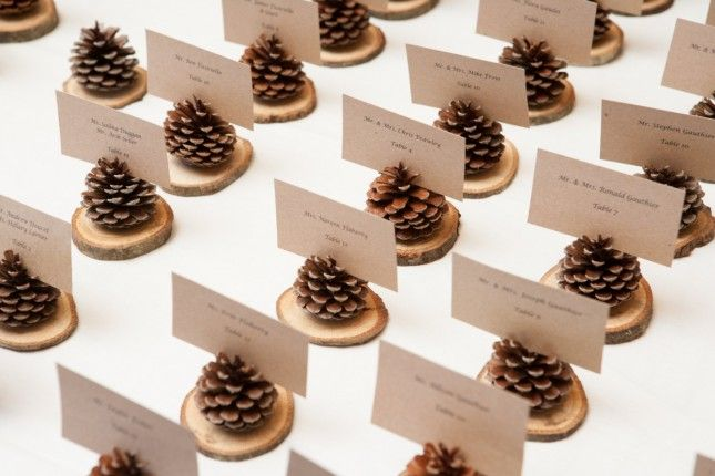 Pine Cone Wedding: Place Card Holders