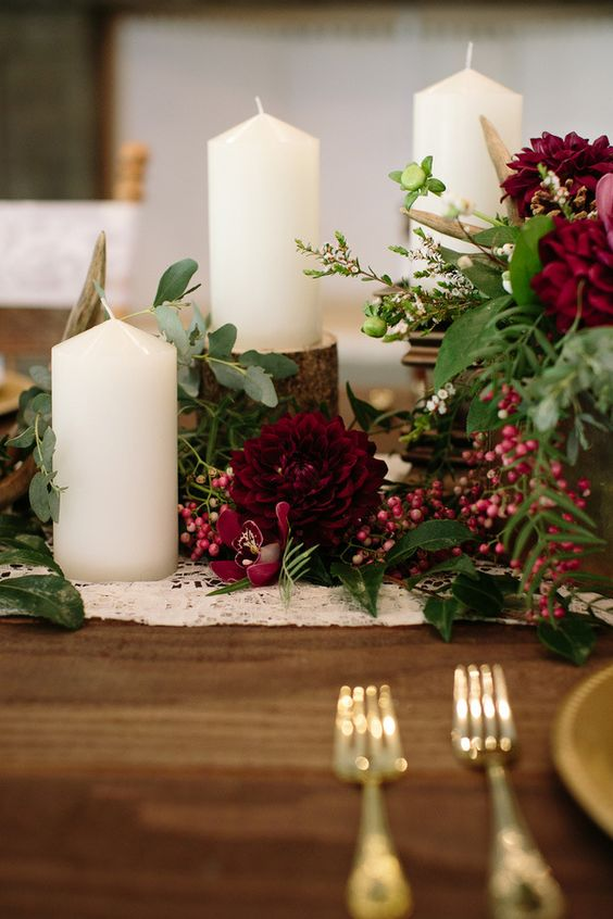 Candle and Flower Centerpiece | Hot Tips for Planning an Autumn Wedding | My Wedding Favors
