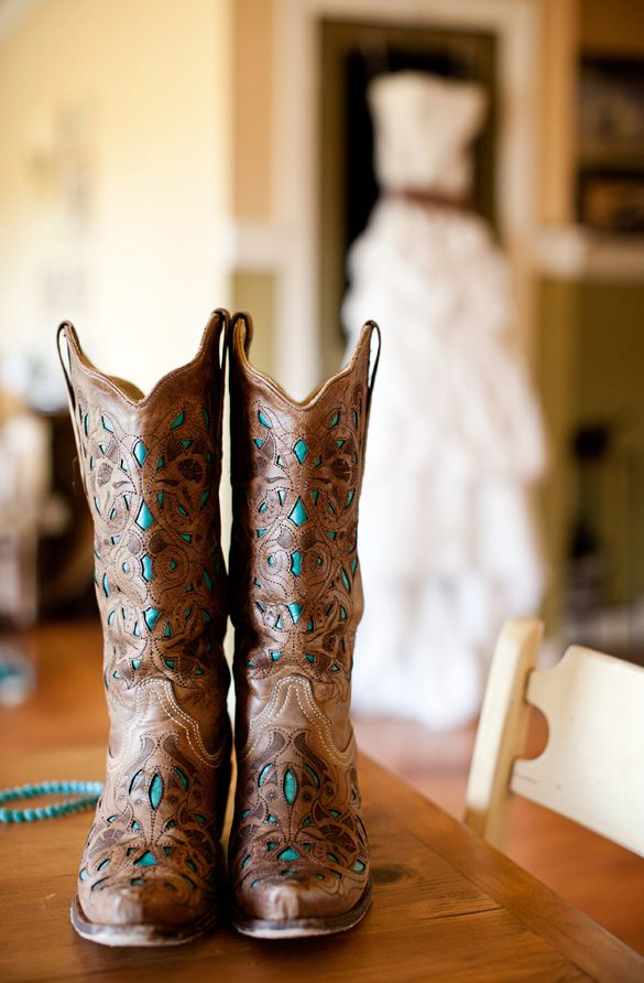 Blue and Brown Cowboy Wedding Boots | Cali Ashton Photography