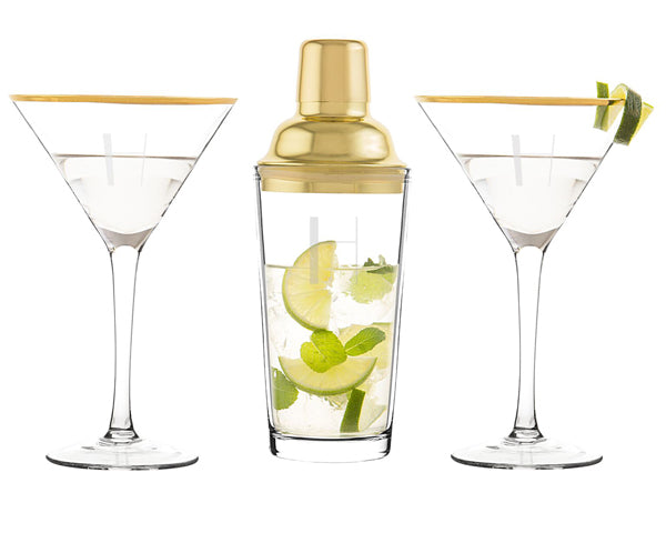 Gold Cocktail Shaker and Martini Glasses | Memorable Bridesmaids Gifts | My Wedding Favors