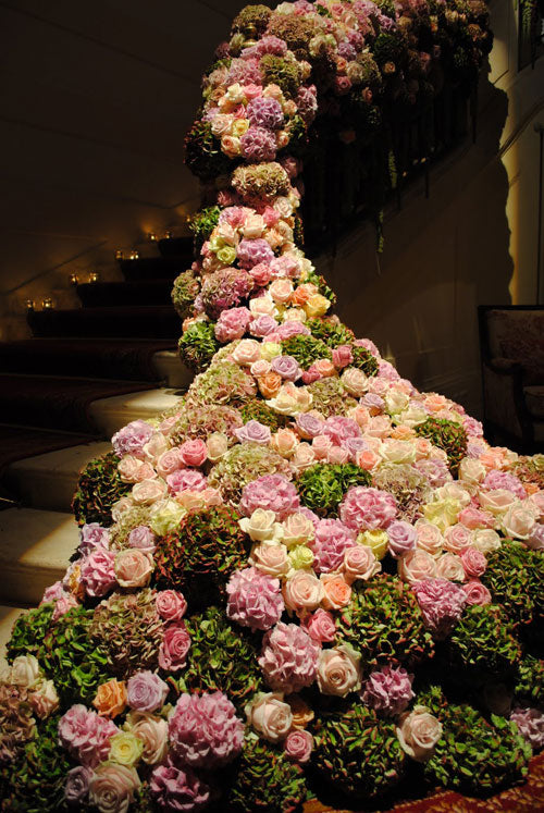 Pink and Green Floral Arrangement on Staircase | By Appointment Only