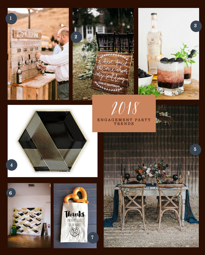 Engagement Party Trends Collage | 7 Engagement Party Trends for 2018 | My Wedding Favors