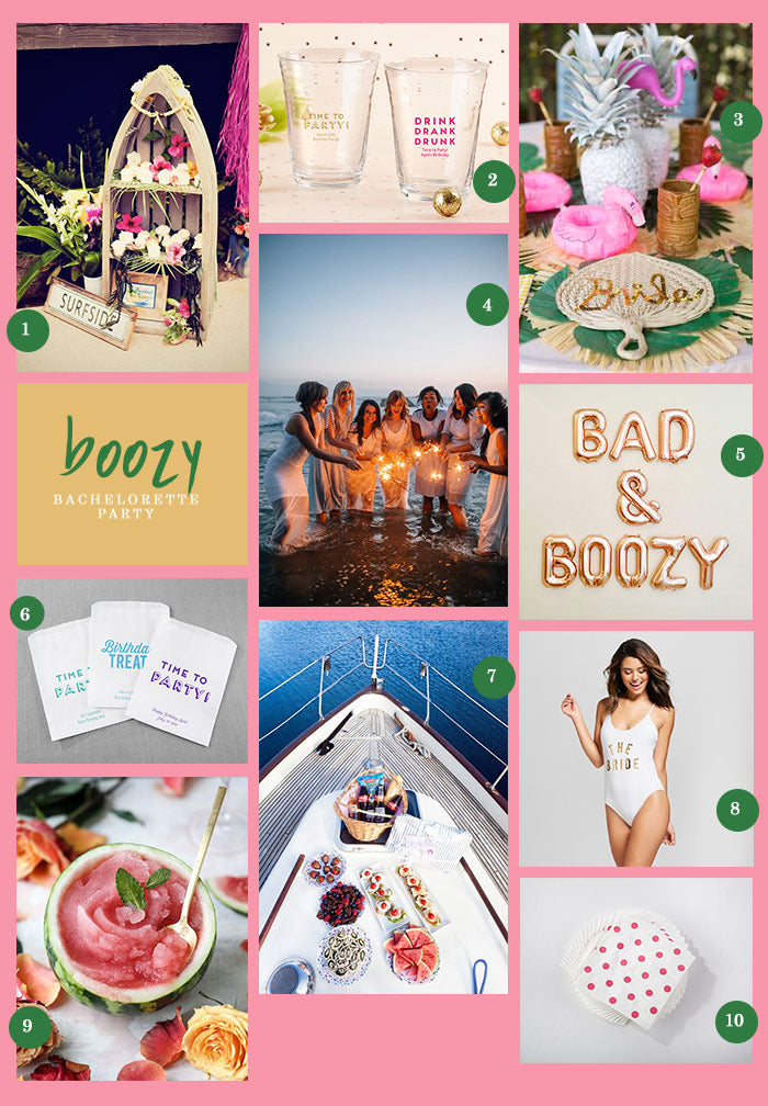 A Boozy Bachelorette Party Collage | 9 Ideas for a Boozy Bachelorette Party | My Wedding Favors