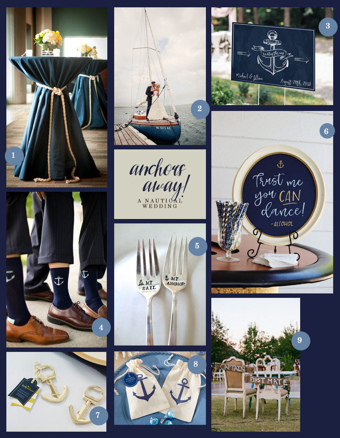 Nautical Wedding Collage | Anchors Away for a Nautical Wedding | My Wedding Favors