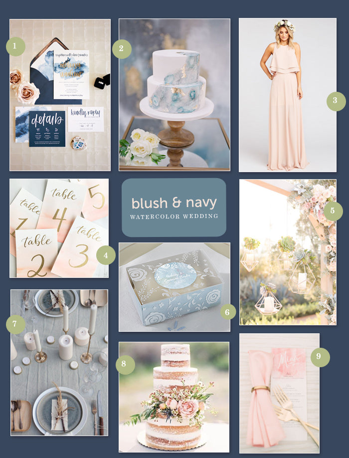 A Navy and Blush Watercolor Wedding