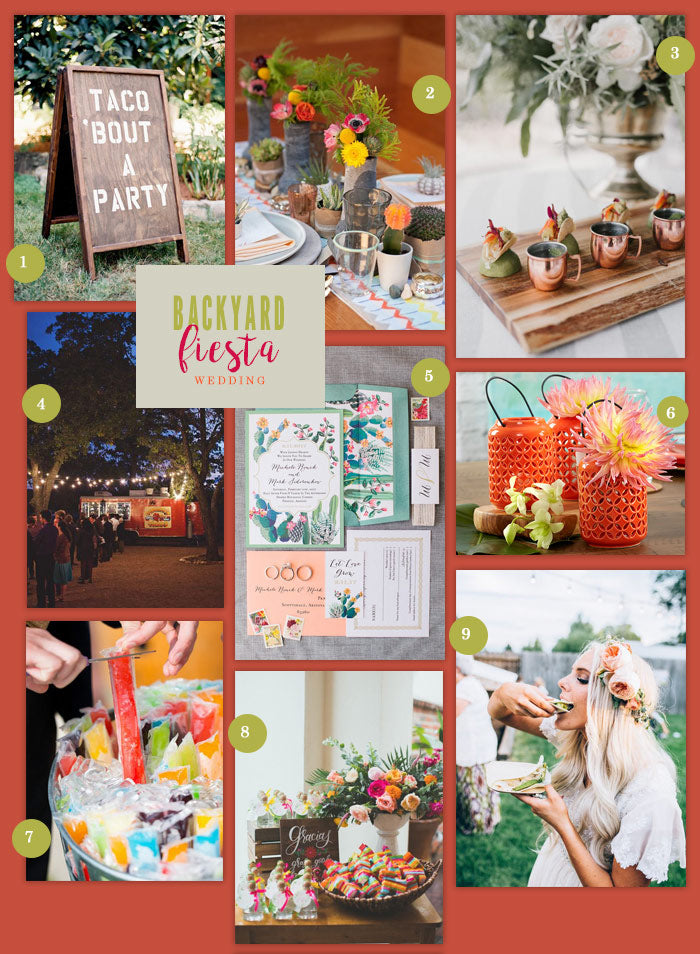 Backyard Fiesta Wedding Collage | 9 Ideas for a Backyard Fiesta Wedding | My Wedding Favors