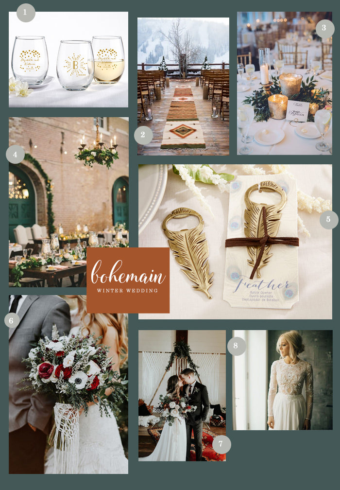 Bohemian Winter Wedding Collage | 8 Ideas for a Bohemian Winter Wedding | My Wedding Favors