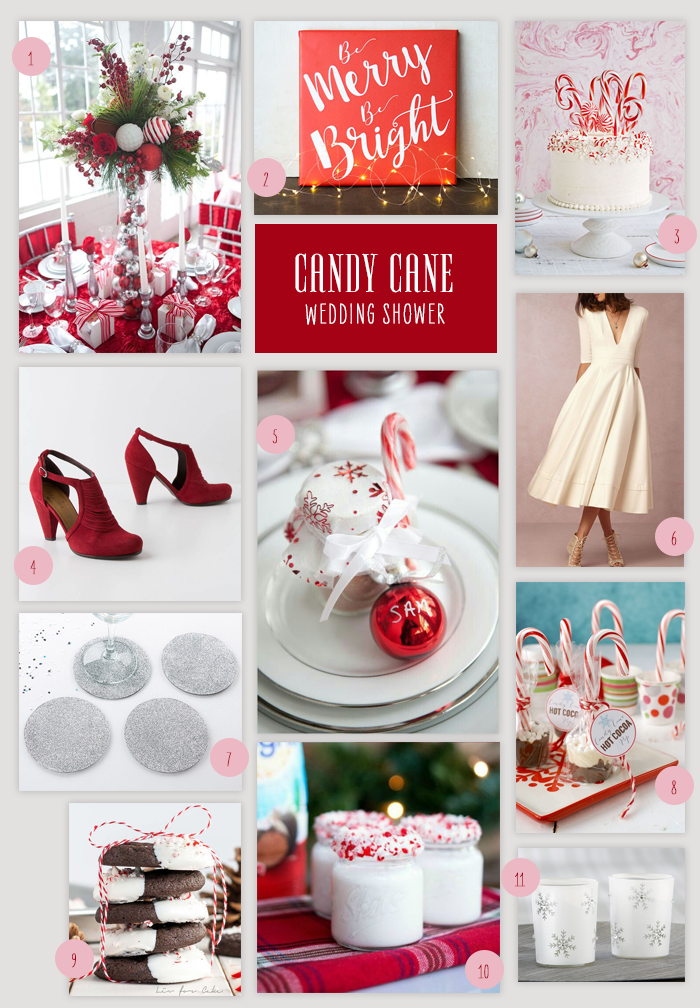 Candy Cane Wedding Shower Collage | Throw a Candy Cane Wedding Shower | My Wedding Favors