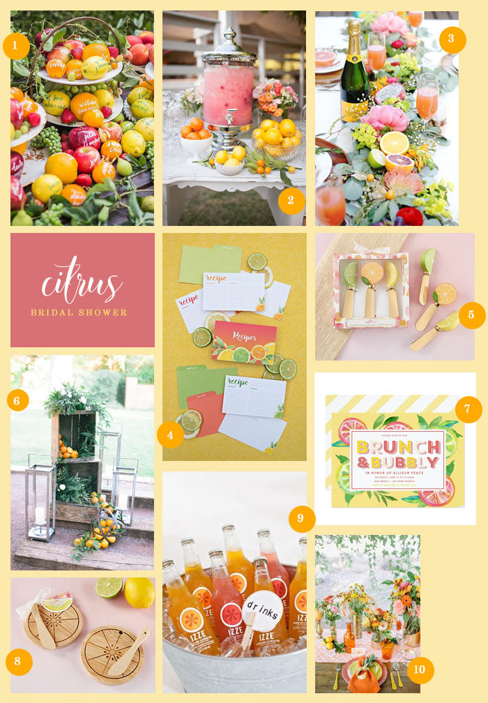 Citrus Themed Bridal Shower Collage | Inspiration for a Citrus Themed Bridal Shower | My Wedding Favors