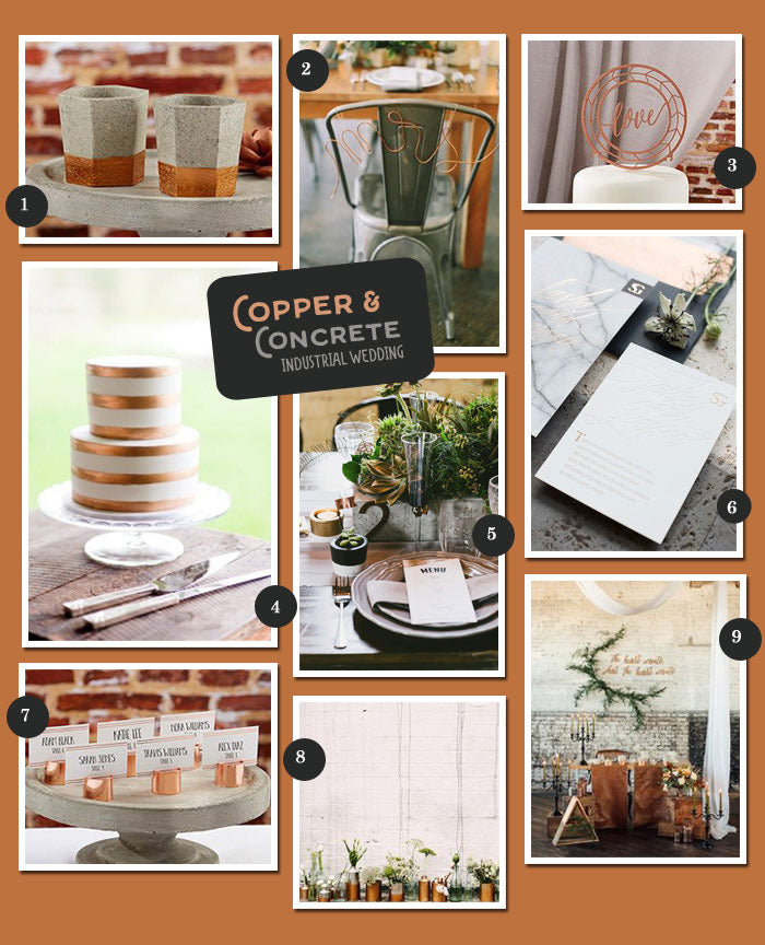 Copper and Concrete Industrial Wedding Inspiration | @MyWeddingFavors | MyWeddingFavors.com