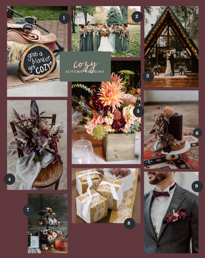 Autumn Wedding Collage | 9 Ideas for a Cozy Autumn Wedding | My Wedding Favors