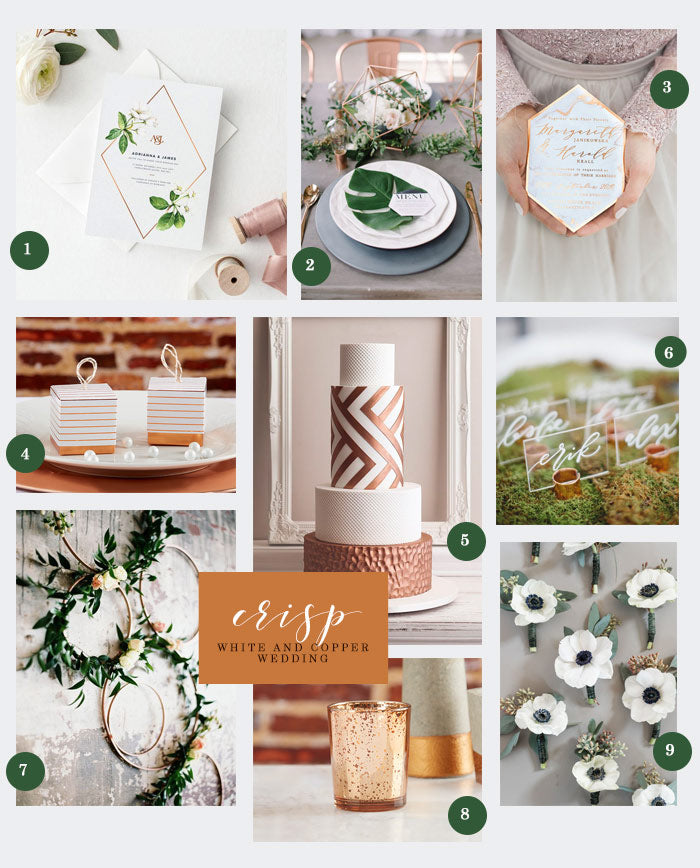 Crisp White and Copper Wedding Collage | Inspiration for a Crisp White and Copper Wedding | My Wedding Favors
