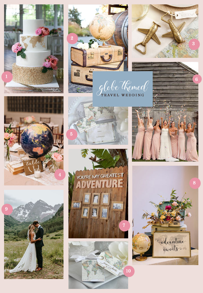 Globe Themed Travel Wedding Collage | A Globe Themed Travel Wedding | My Wedding Favors
