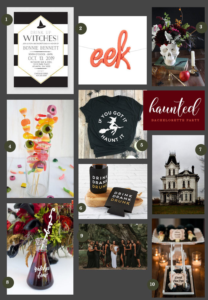 Haunted Bachelorette Party Collage | Planning a Hauntingly Festive Bachelorette Party | My Wedding Favors