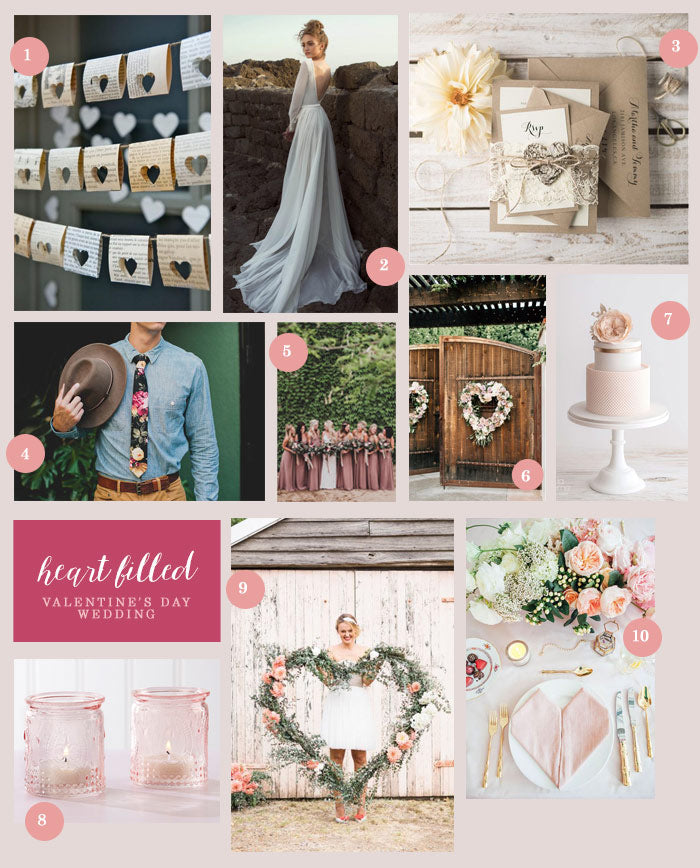 Heart Filled Valentines Day Wedding Collage | 10 Ideas for a Heart Filled Wedding | My Wedding Favors