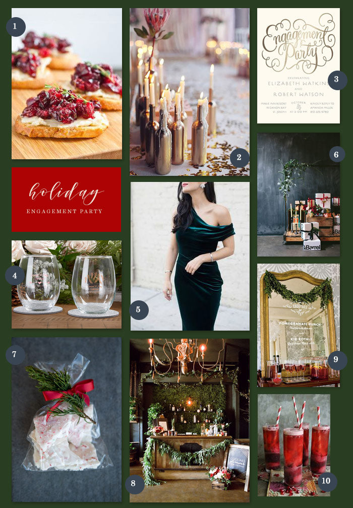 Holiday Engagement Party Collage | 10 Ideas for a Holiday Engagement Party  | My Wedding Favors
