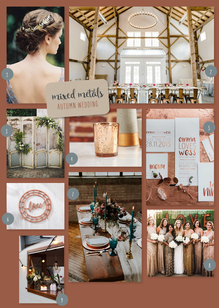 Mixed Metals Autumn Wedding Collage | 9 Ideas for a Mixed Metals Autumn Wedding | My Wedding Favors