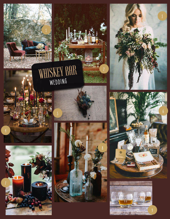 Moody Whiskey Bar Wedding | 9 Ideas for a Moody, Whiskey Bar Wedding | My Wedding Favors