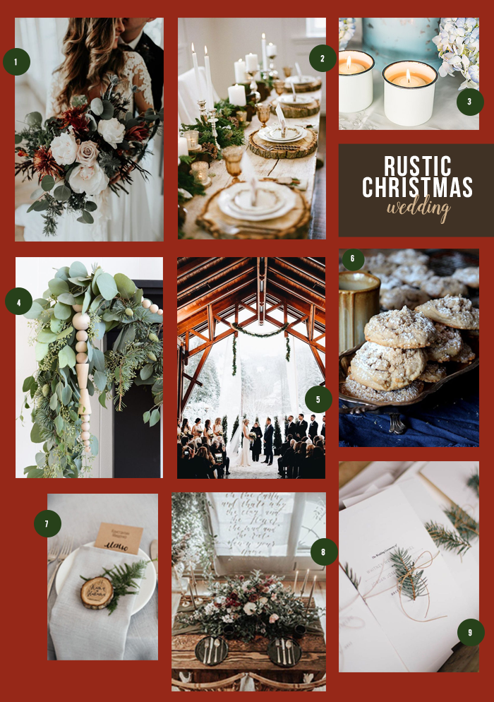 Rustic Christmas Wedding Collage | 9 Ideas for a Rustic Christmas Wedding | My Wedding Favors