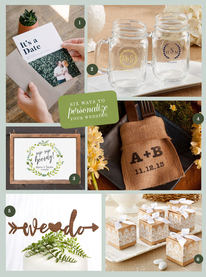 Collage | The Top Six Ways to Personalize Your Wedding |My Wedding Favors