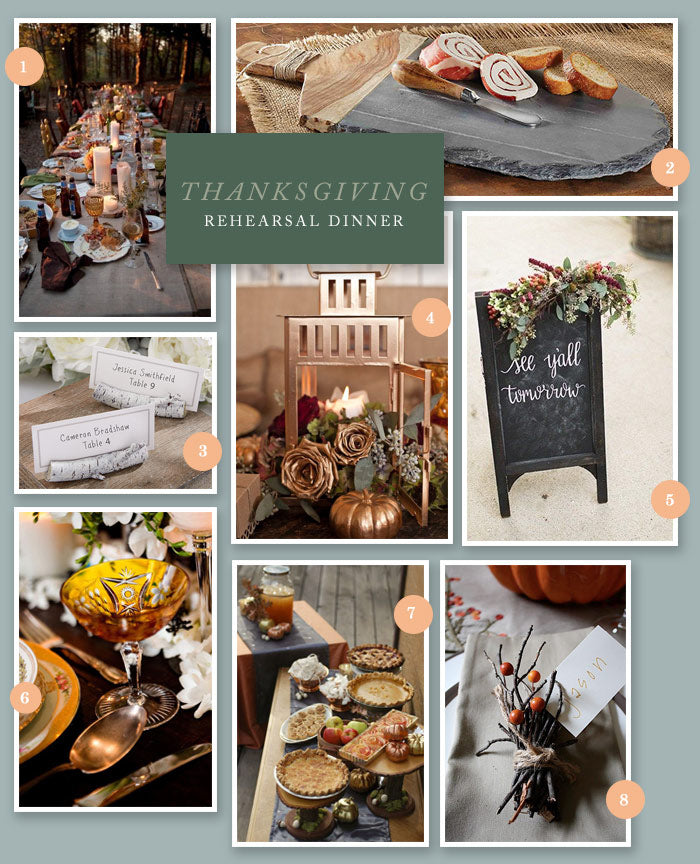 Thanksgiving Rehearsal Dinner Collage | 8 Ideas for a Thanksgiving Rehearsal Dinner | My Wedding Favors