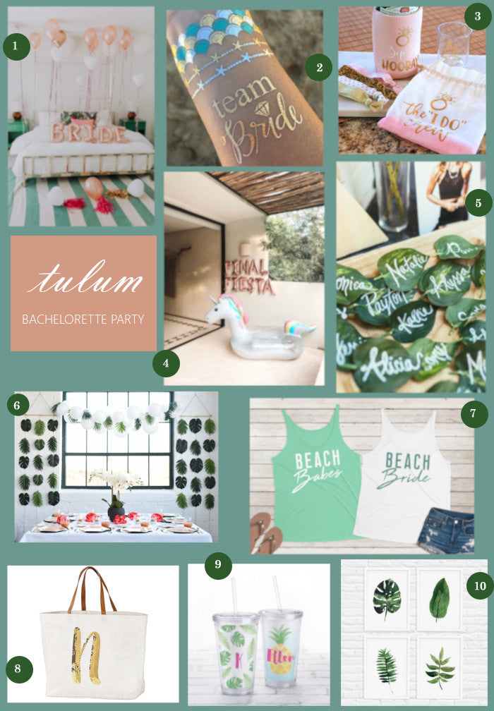 Tulum Inspired Bachelorette Party Collage | A Tulum Inspired Bachelorette Party Ideas | My Wedding Favors