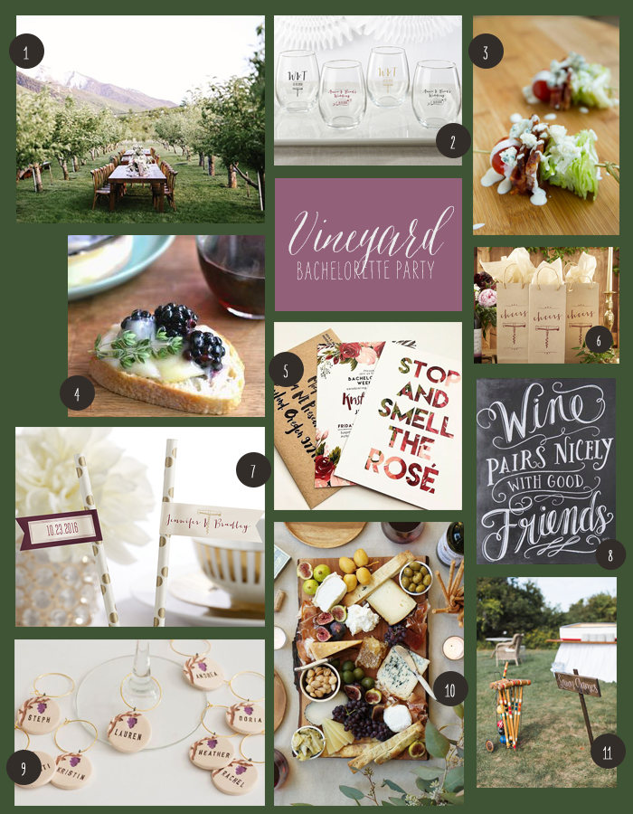 Vineyard Bachelorette Party Board | How to Throw a Vineyard Bachelorette Party | My Wedding Favors