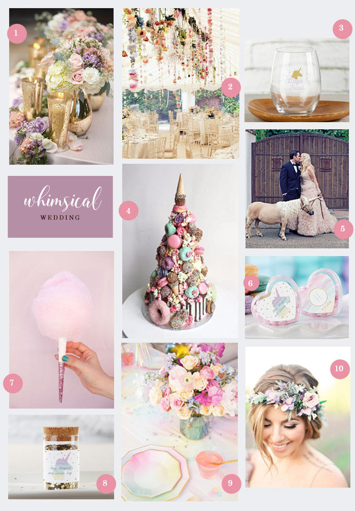 Whimsical Wedding Collage | 10 Ideas for a Whimsical Wedding | My Wedding Favors