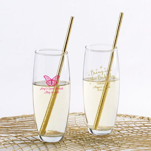 Personalized Stemless Champagne Glass - Brunch
