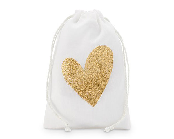 Glitter Heart Drawstring Favor Bag | 9 Gold Party Favors Everyone Will Love | My Wedding Favors