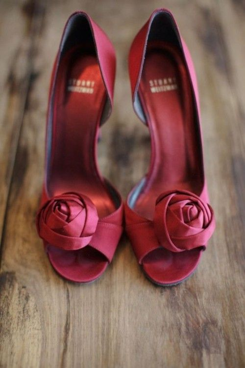 Marsala Wedding Shoes: Flower Heels