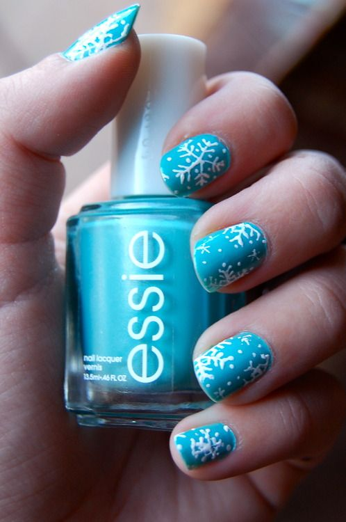 Snowflake Manicure Ideas: Blue Nail Polish