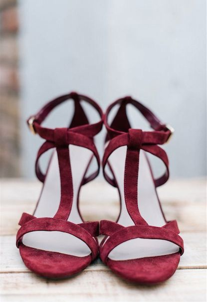 Marsala Wedding Shoes: Strappy Heels