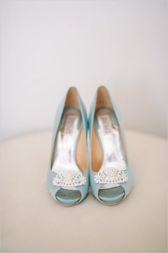 Light Blue Badgley Mischka Heels | Tracy Enoch Photography via Wedding Chicks
